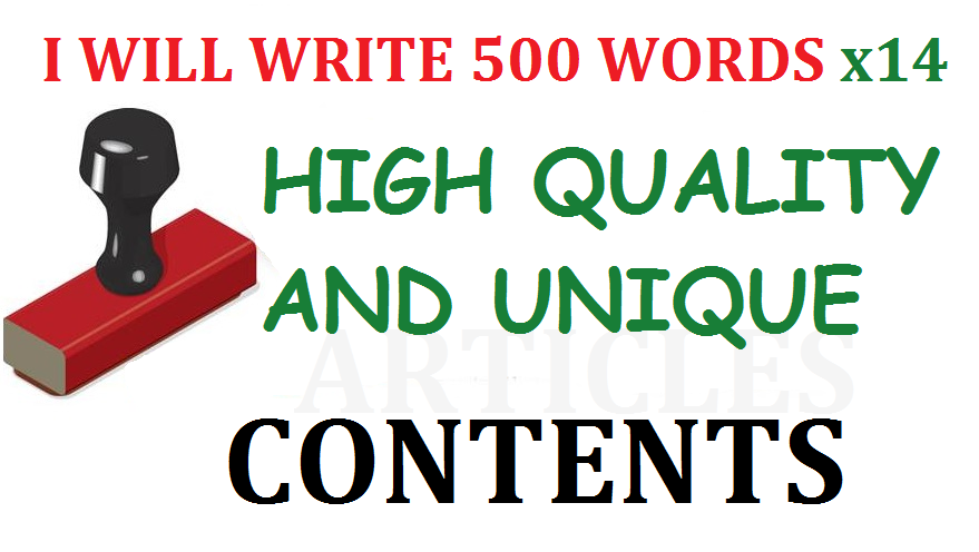 14 x 500 Words Unique Articles/Contents for your Site or Blog. SEO Friendly Pro Writer