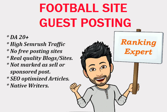 I will publish 3 guest post on real authority high traffic football tips sites
