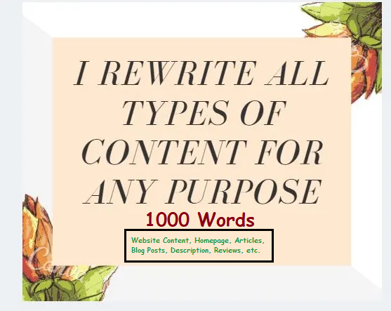 I will manually rewrite website contents blog post,  articles. SEO Pro Rewriter