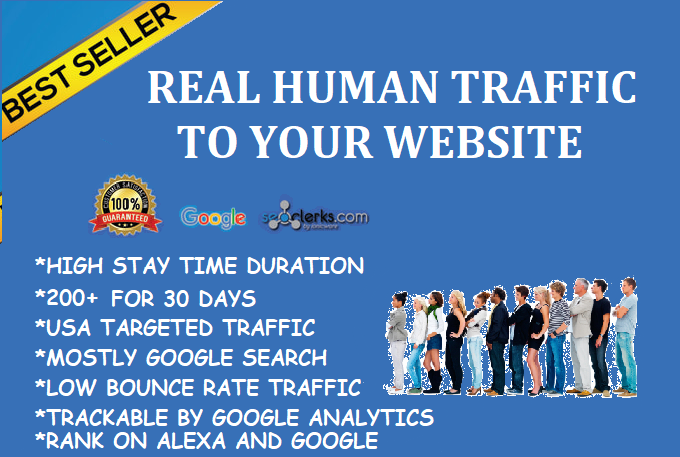 200+ Daily Traffic from Real Human. Website Visitors for 30 days. Google Adsense/Analytics Safe