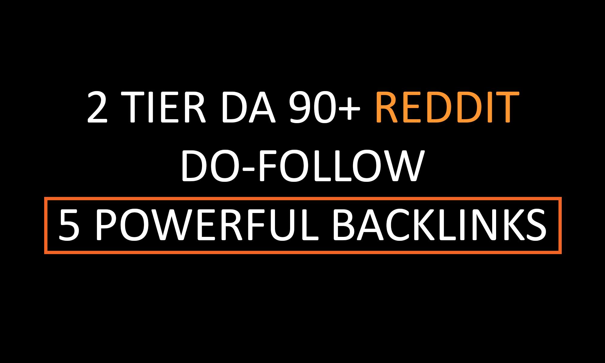 Build 5 DA 90+ Dofollow Powerful 2 TIER Reddit SEO BACKLINKS