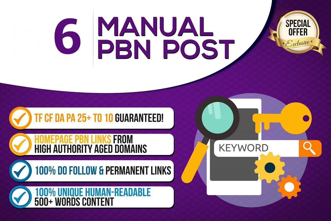 Create 6 High Quality PBN - DA 20+ PA 30+ Dofollow Permanent Home page