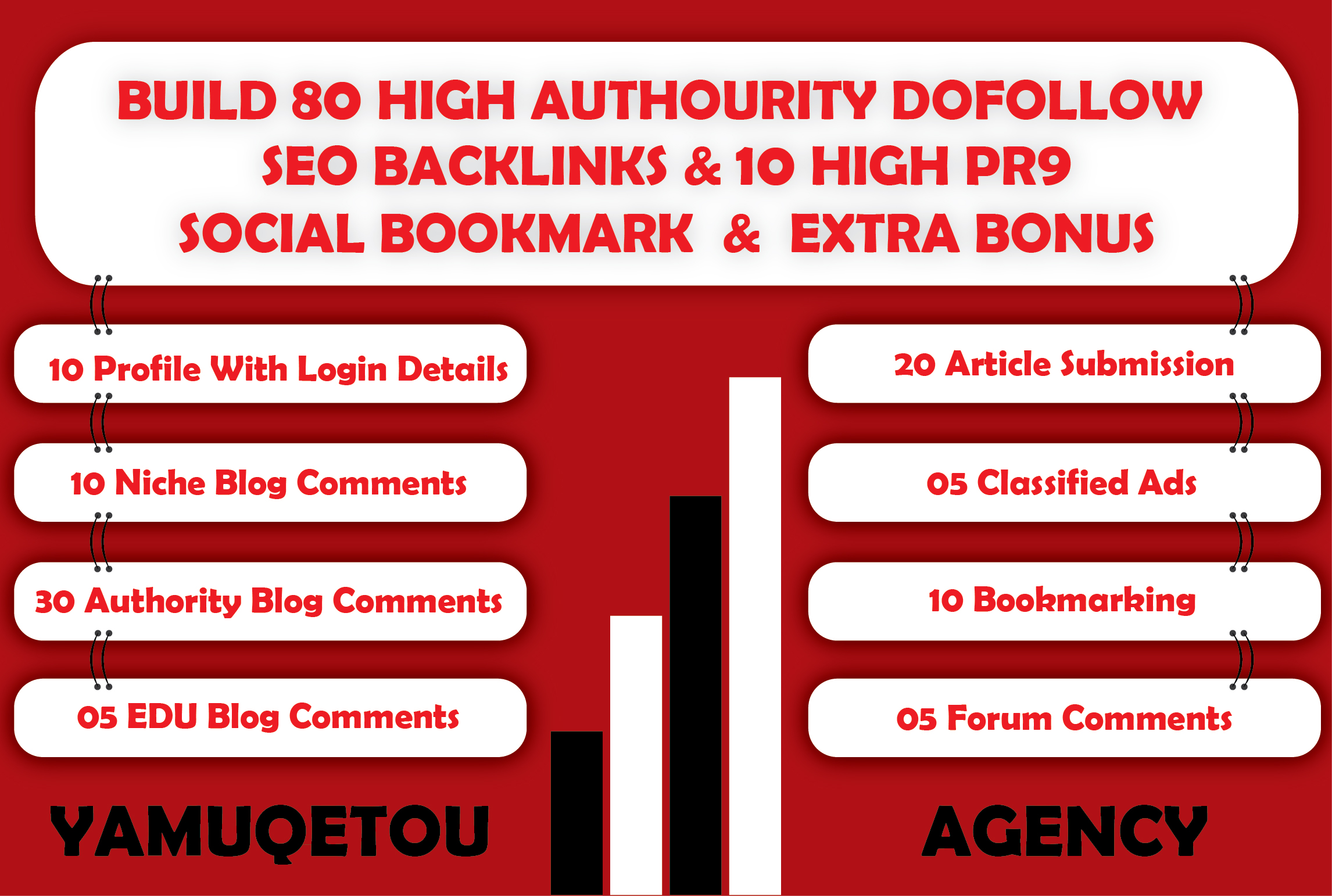 I Will Build 80 High Authority Dofollow SEO Backlinks + 10 High PR9 Social Bookmark+ Extra Bonus
