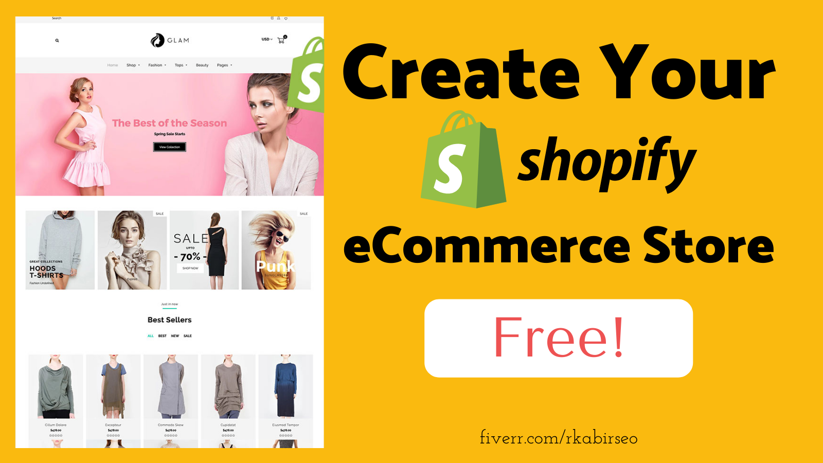 I will setup a new shopify store for free