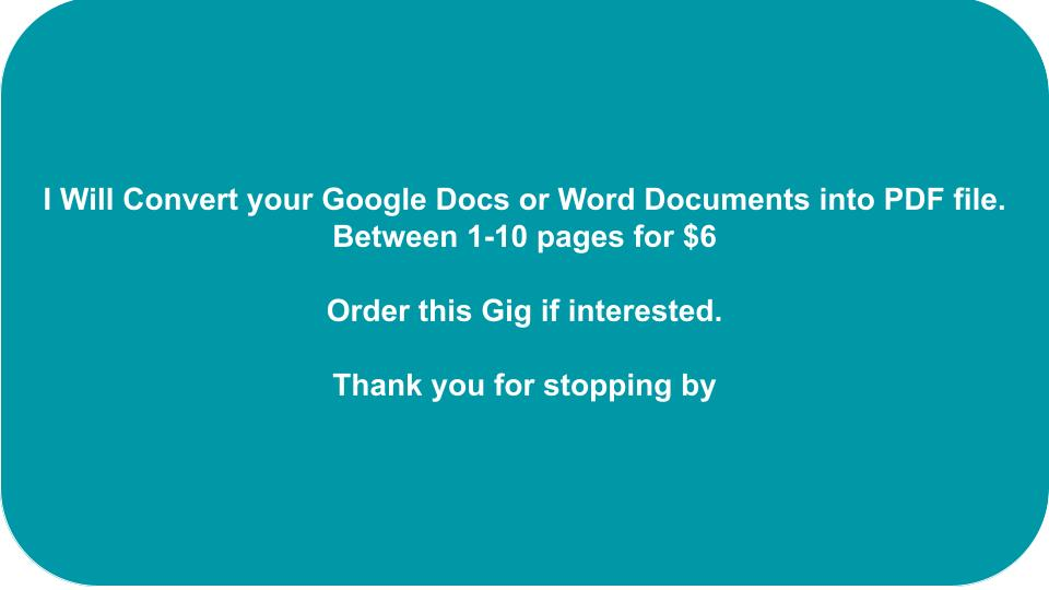 I will convert between 1-10 pages google docs or word documents into pdf