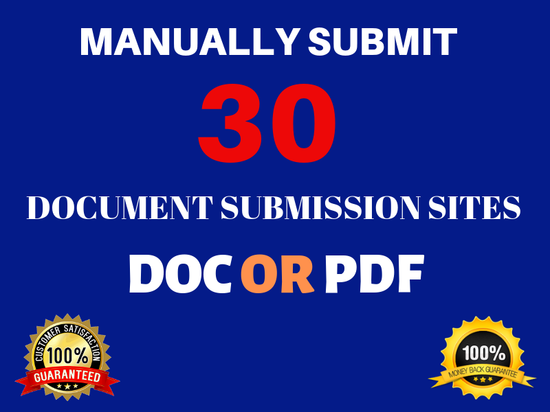 Manually Submit Your Article Or Pdf To Top 30 Document Submission Sites