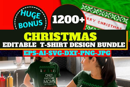 1200 Christmas Editable New T-shirt Design Bundle