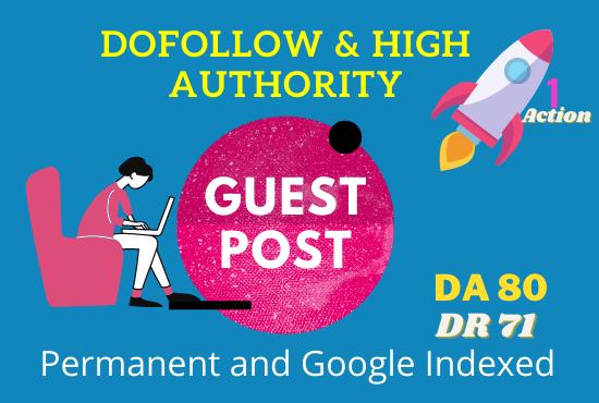 3 Guest Post Backlinks on Real High DA 80 Sites