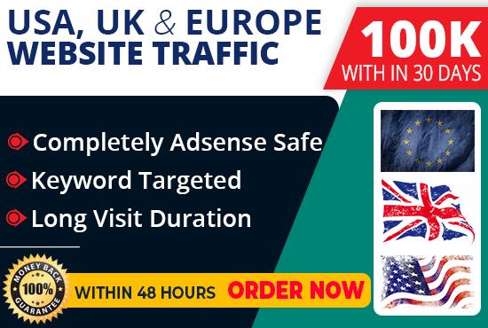 100,000 USA,UK, Europe keyword target website traffic