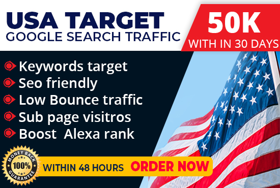 drive daily keyword target USA base Organic traffic with low bounce rate