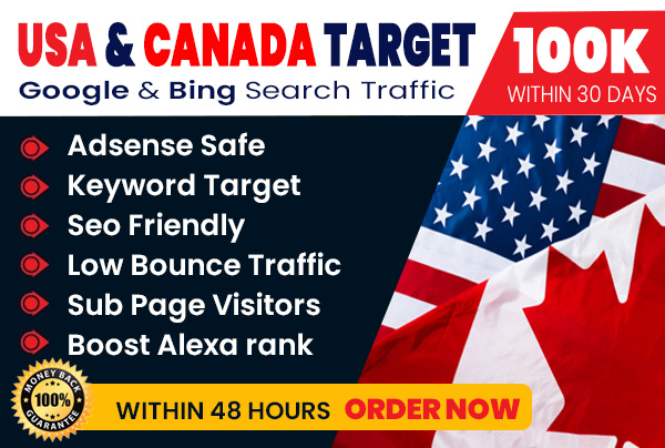 send 100,000 USA, CANADA keyword targeted, organic web traffic, real visitors