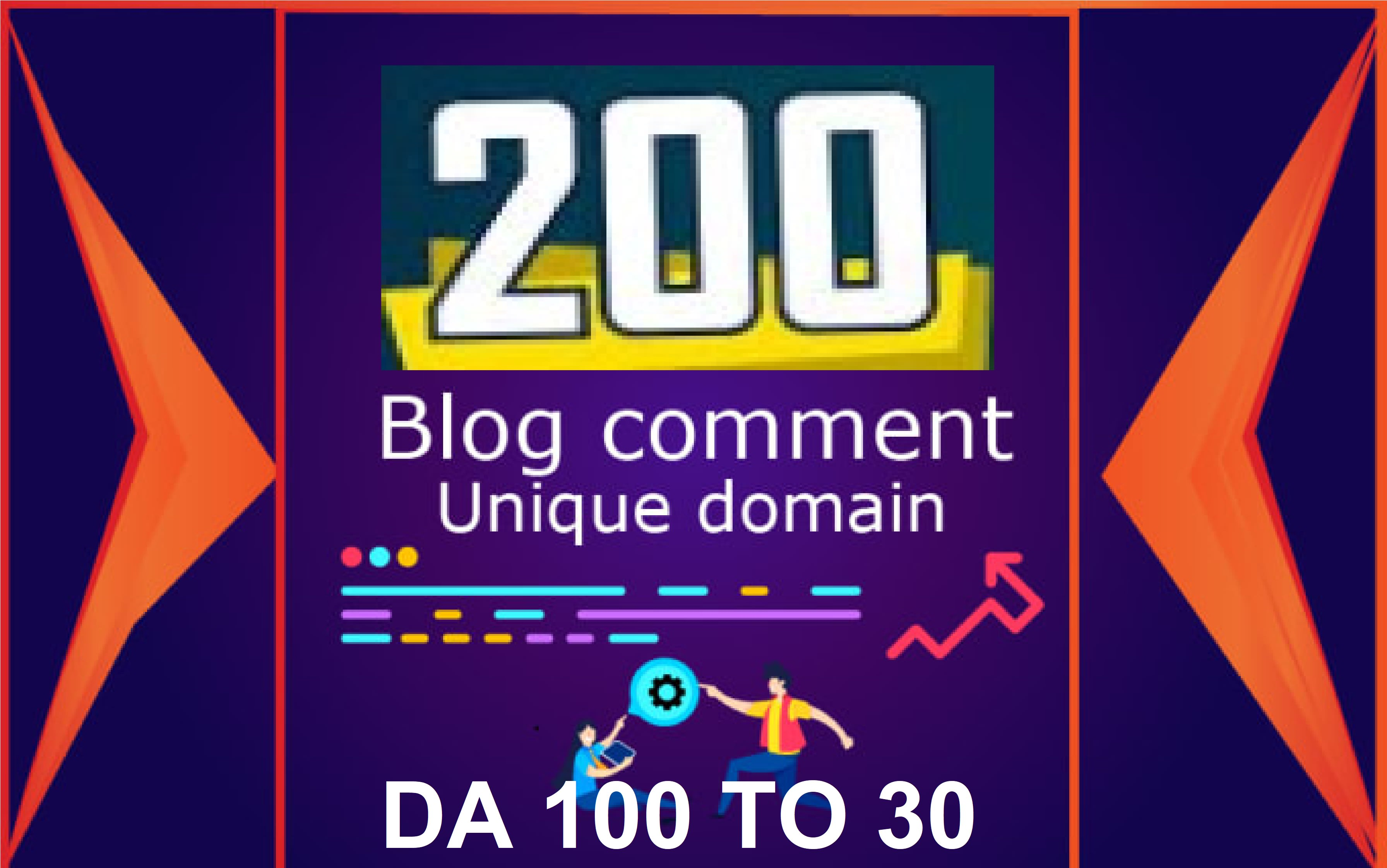 I will give you 200 blog comment unique domain backlink do follow comment