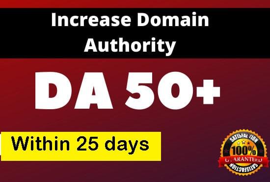 increase domain authority da 50+ increase moz