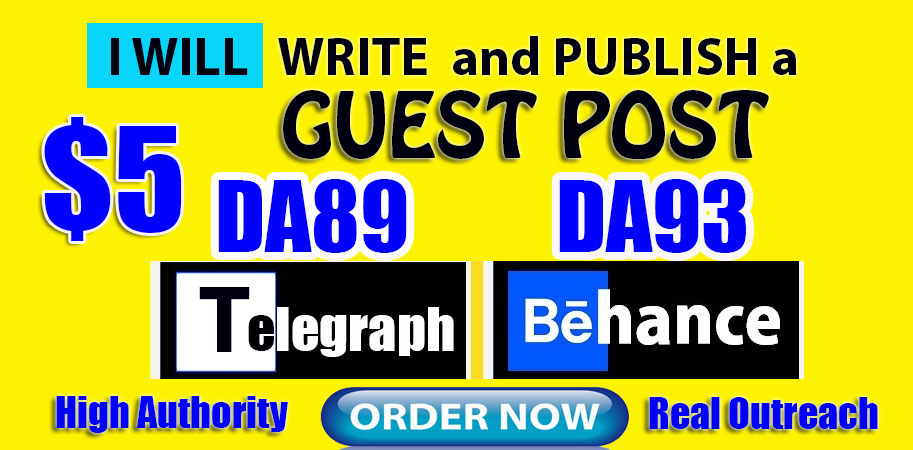 Write and Publish Guest Posts on DA89 Telegraph and DA93 Behance. net
