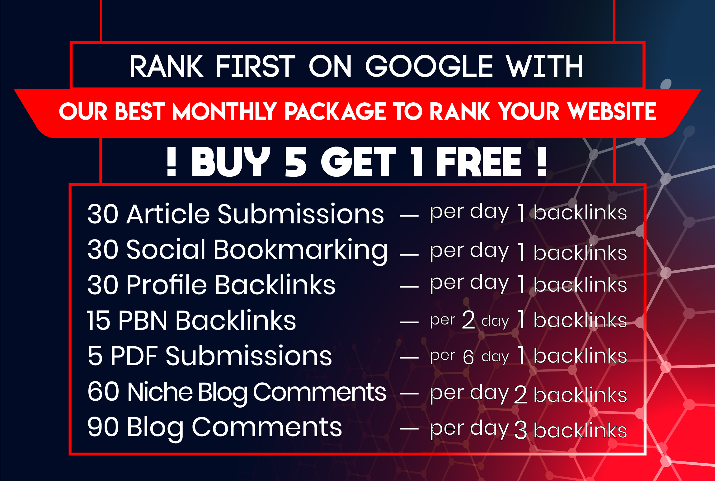 Monthly off Page SEO Backlinks Package Updated for Latest Google Algorithms