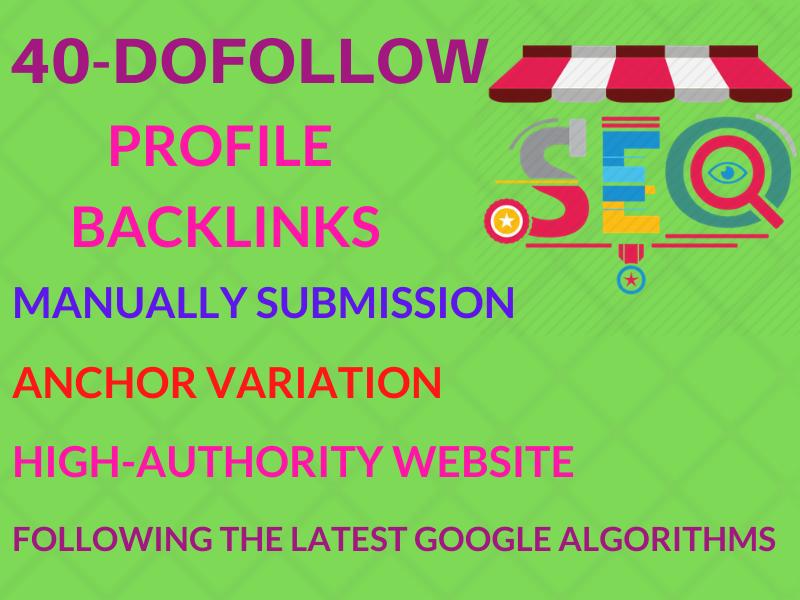 create 40 high authority profile backlinks