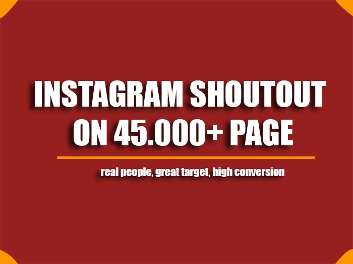Instagram shoutout on 45k page