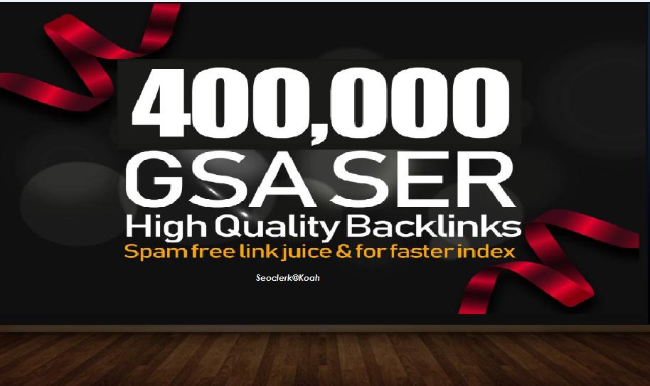 I can provide you 400,000 GSA SER Backlinks