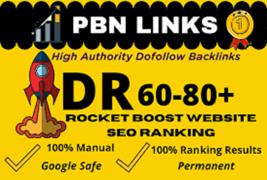 10 HIGH Quality DR 60 to 80 Homepage Created DR 60 Plus PBN BACKLINKS for good SEO result