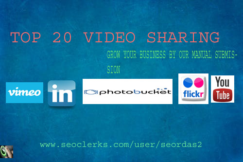 I will manually submit your video to top 20 video sharing site