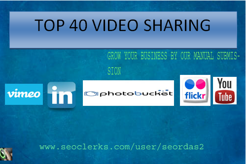 I will manually submit your video to top 40 video sharing sites