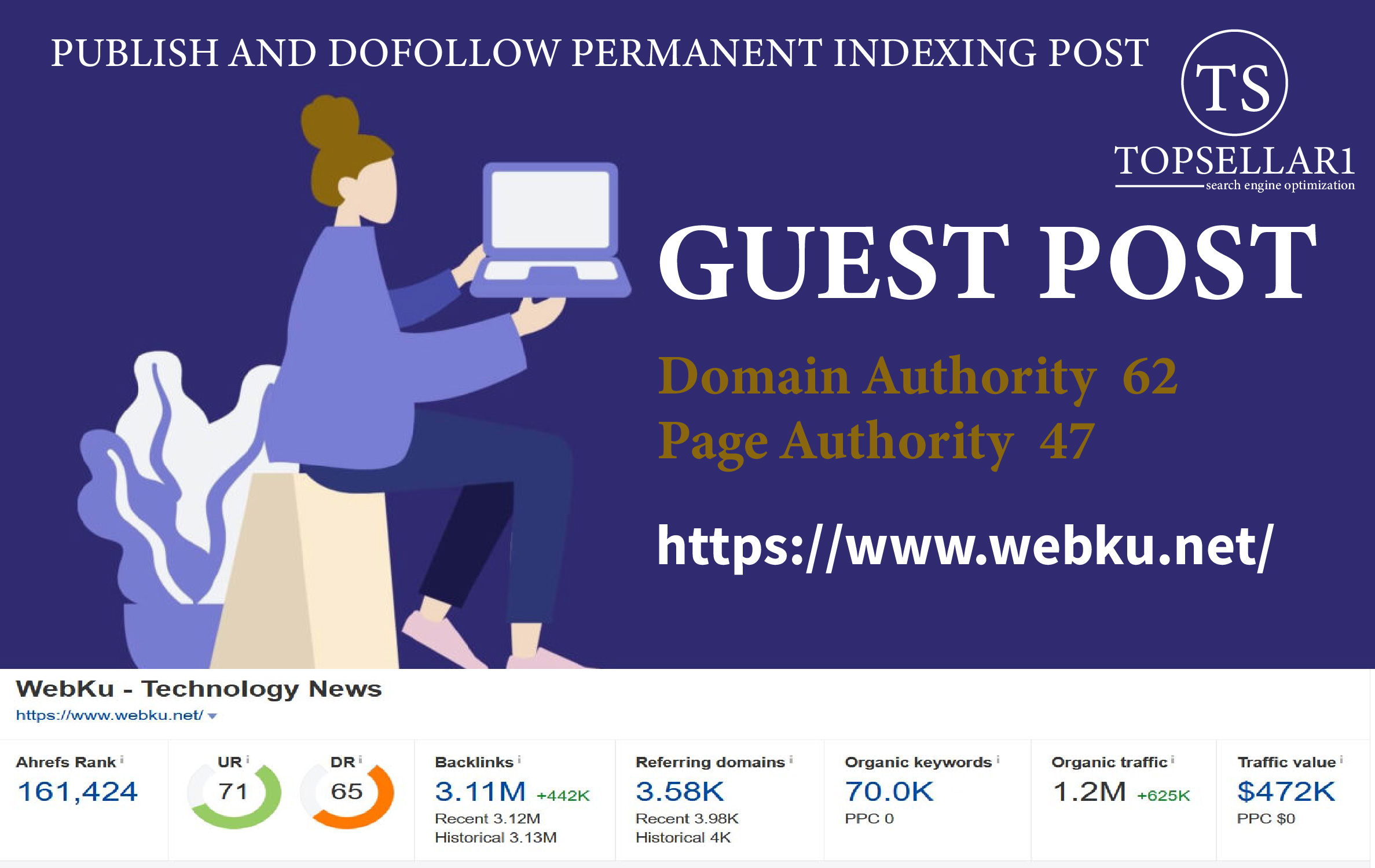 Publish Guest post on webku. net blog Da 61 Dr 72 Permanent Dofollow Backlink