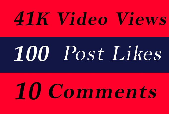 World Wide 41K Video Views Promotion Or 100 Likes Or 10 Comments for Social media Marketing