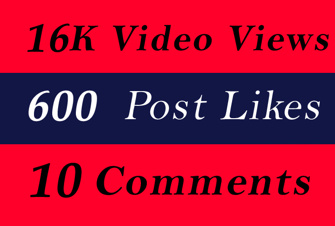 World Wide 16K Video Views Promotion Or 600 Likes Or 10 Comments for Social media Marketing