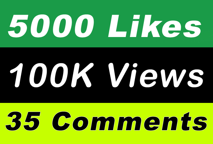 100K Video Views Promotion Or 5000 Likes Or 35 Comments for Social media Marketing