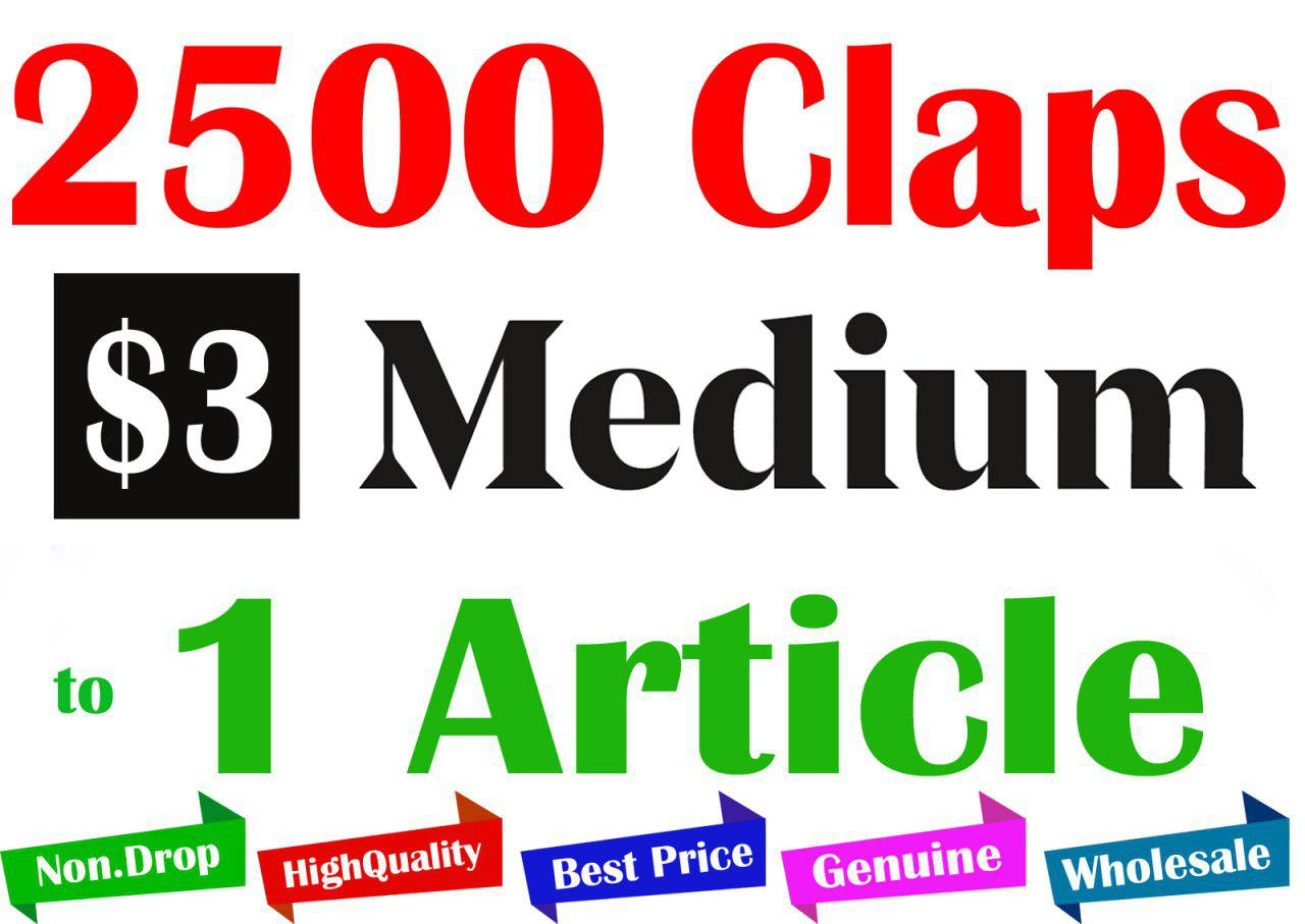 Buy 2500+ Medium Claps for 1 Article
