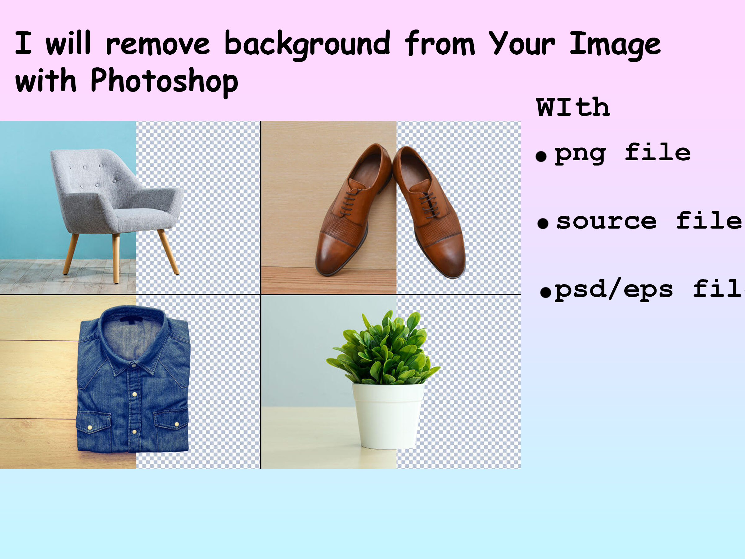 I will remove Background from your Image with Photoshop