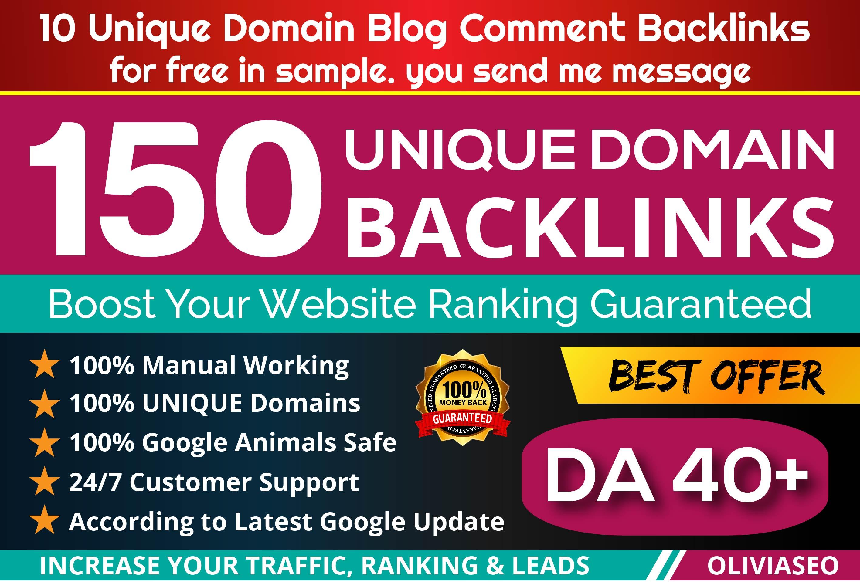 Provide 150 Unique Domain PR7 SEO BackIinks on DA100 sites Plus Edu. Gov Links