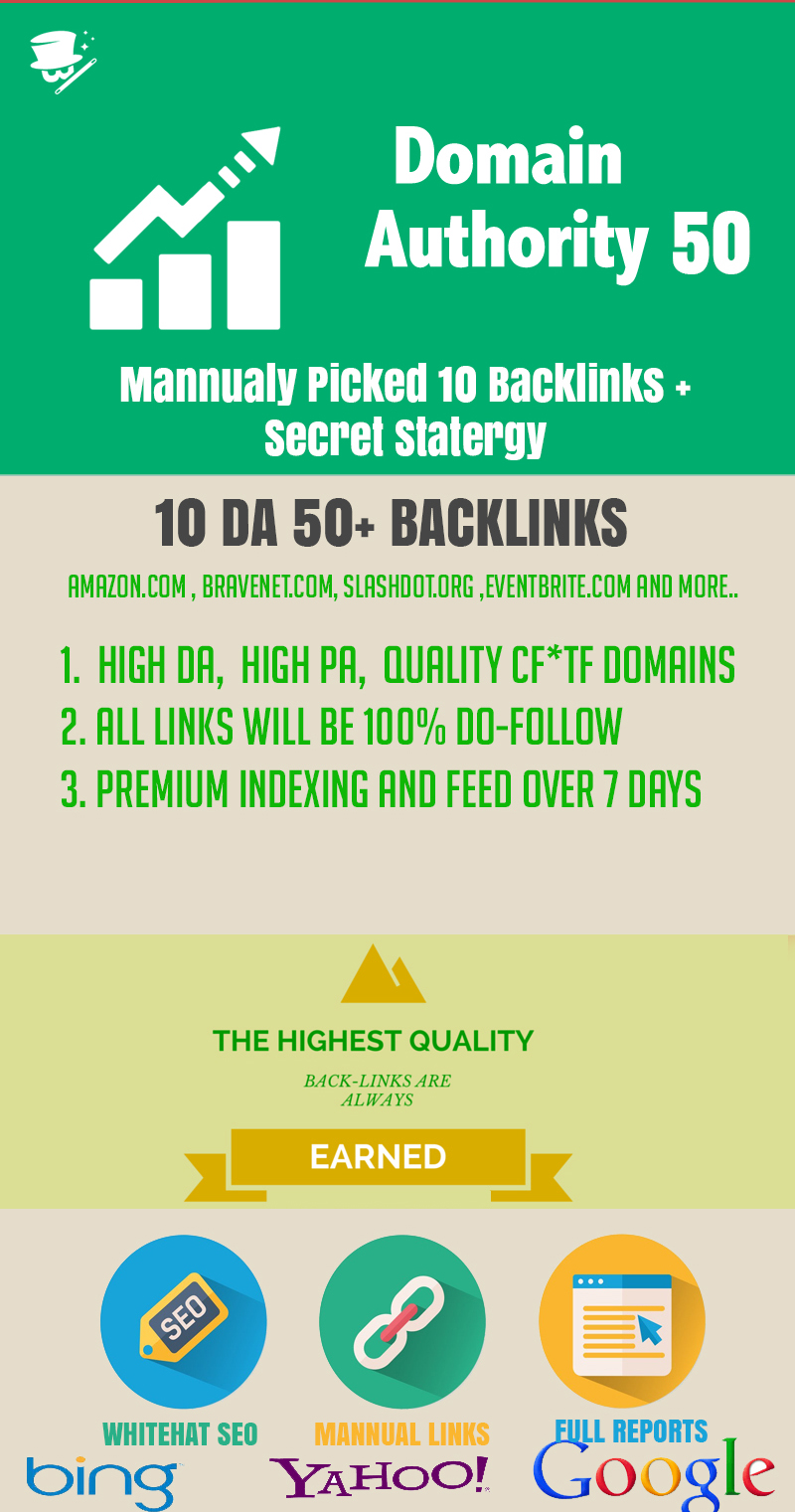 10 HIGH QUALITY DA 50 BACKLINKS FOR GOOGLE FIRST PAGE RANKING
