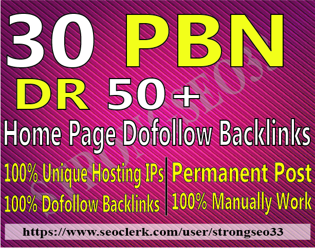 I Will Do 30 Home page Dofollow PBN Backlinks DR 50 Plus High Quality