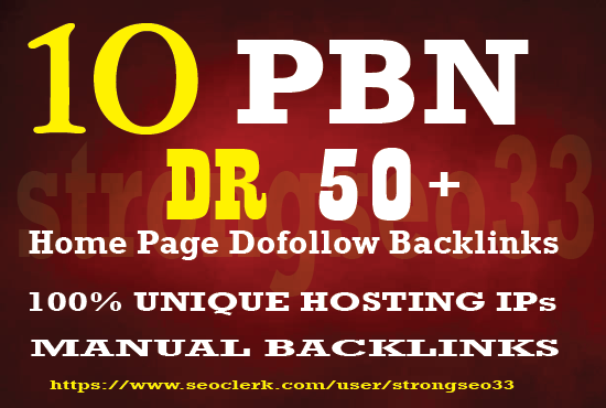 I will provide 10 Home page Dofollow PBN Backlinks DR 50 Plus