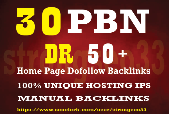 I will provide 30 Home page Dofollow PBN Backlinks DR 50 Plus for