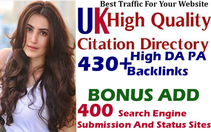 do 430 high authority UK directory submission and 400 search engine submission