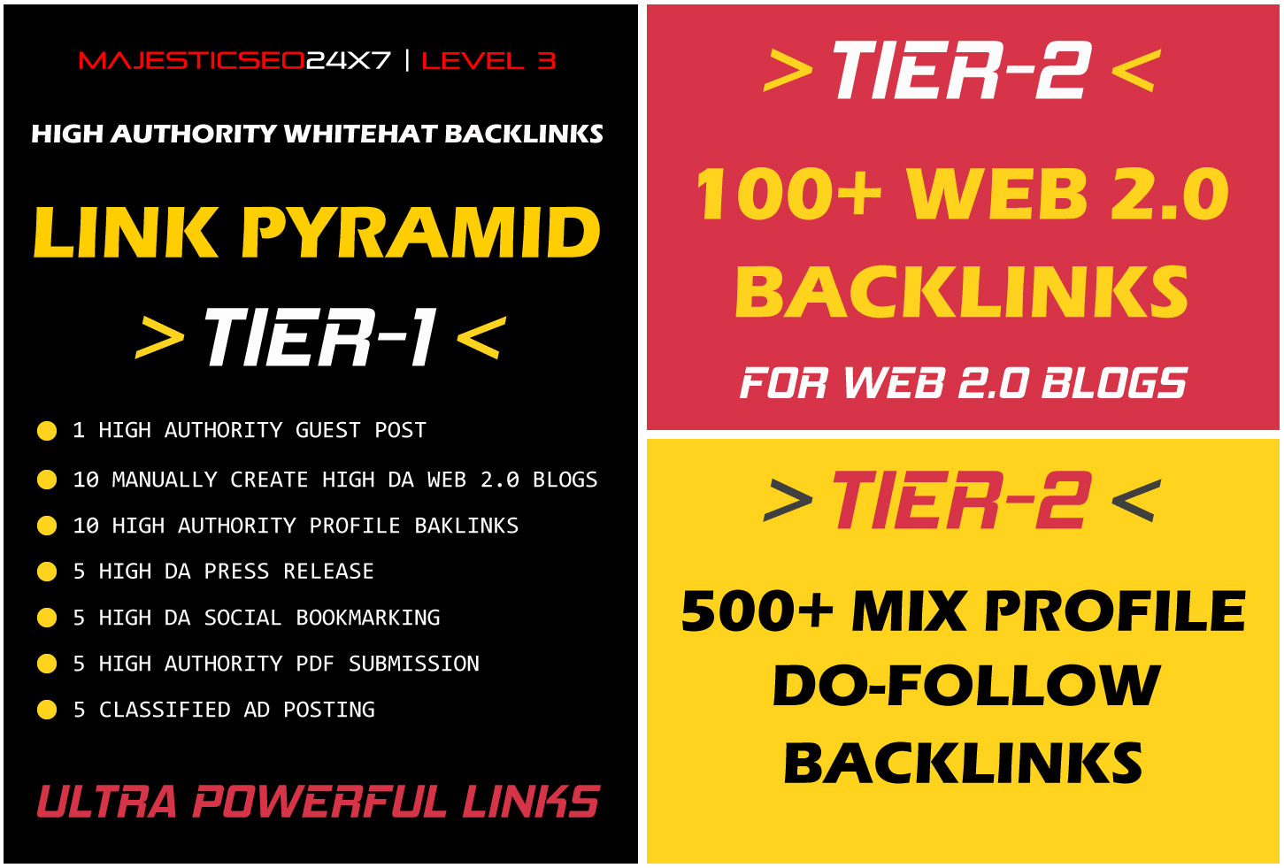 ULTRA POWERFUL 3 TIER LINK PYRAMID FOR SKYROCKET YOUR WEBSITE RANKING