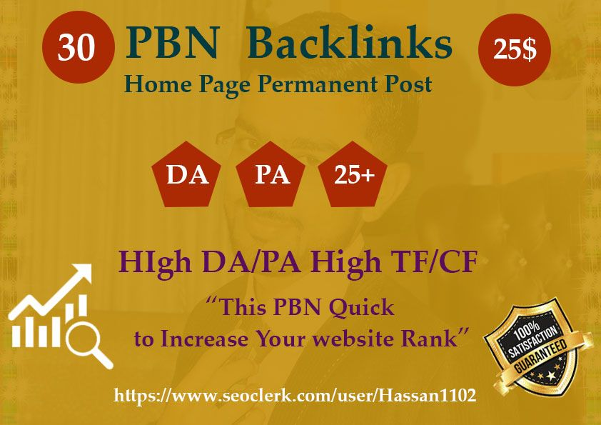 30 High Authorized PBN Backlinks High DA/PA CF/TF Unigue Domains