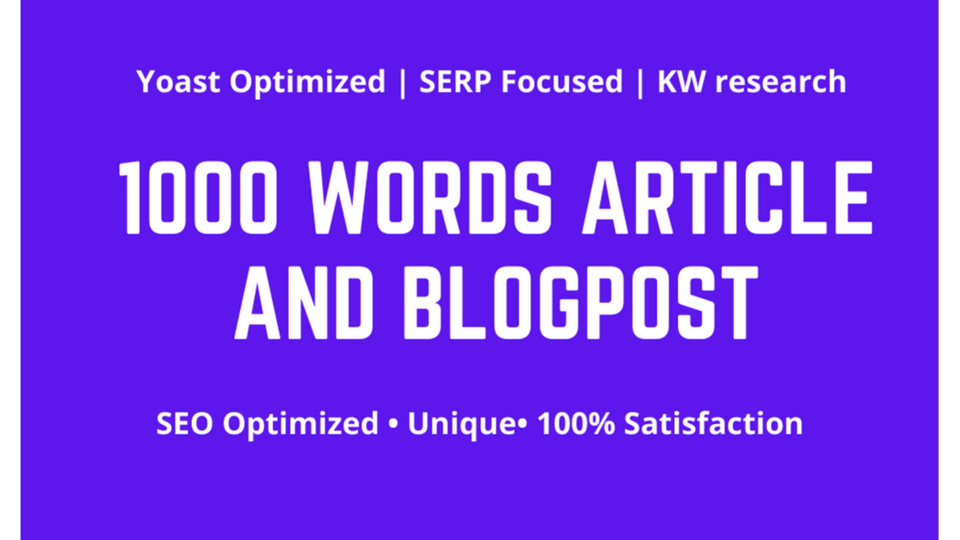 Write 1000 words SEO friendly article or blogpost