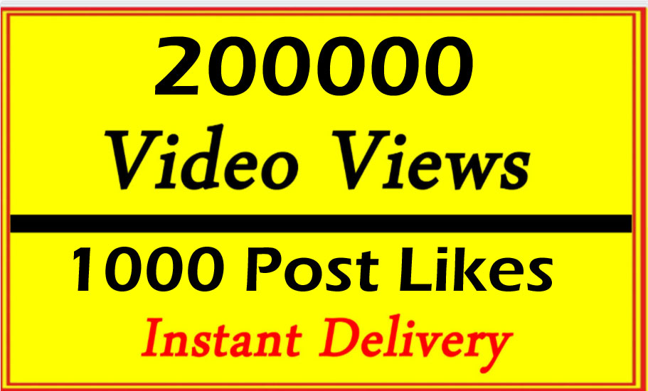 Very Fast 20000 Video Views or 1000 Likes