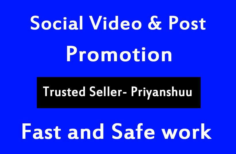 Social profile and Post Video Promotion Via Social media Marketing