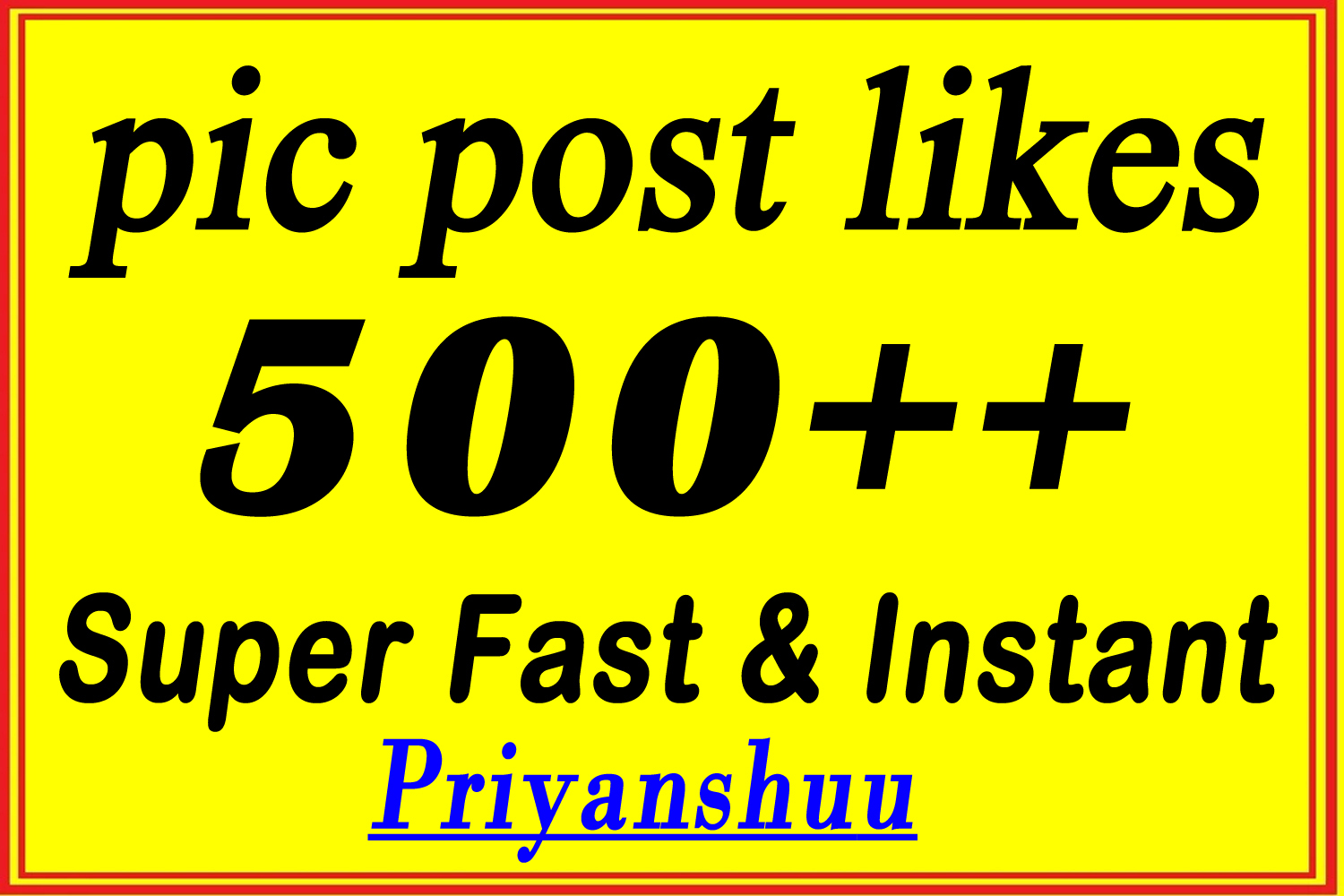 Instant 500 organic Social Pictures Post Promotion in 2 Hours
