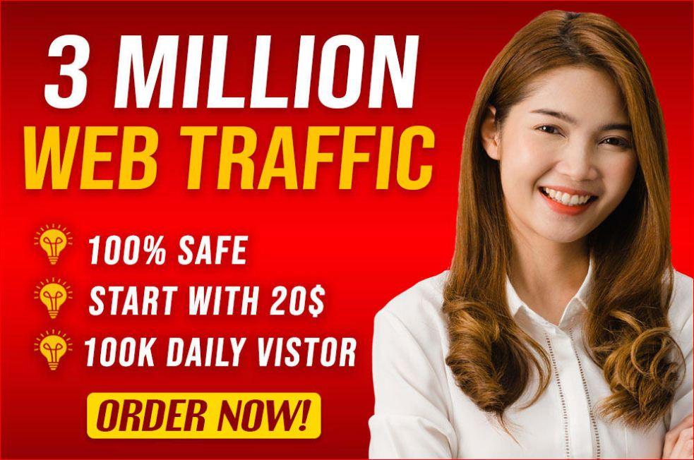 Drive 3,000,000 targeted real organic website traffic by Google, Yahoo, Bing