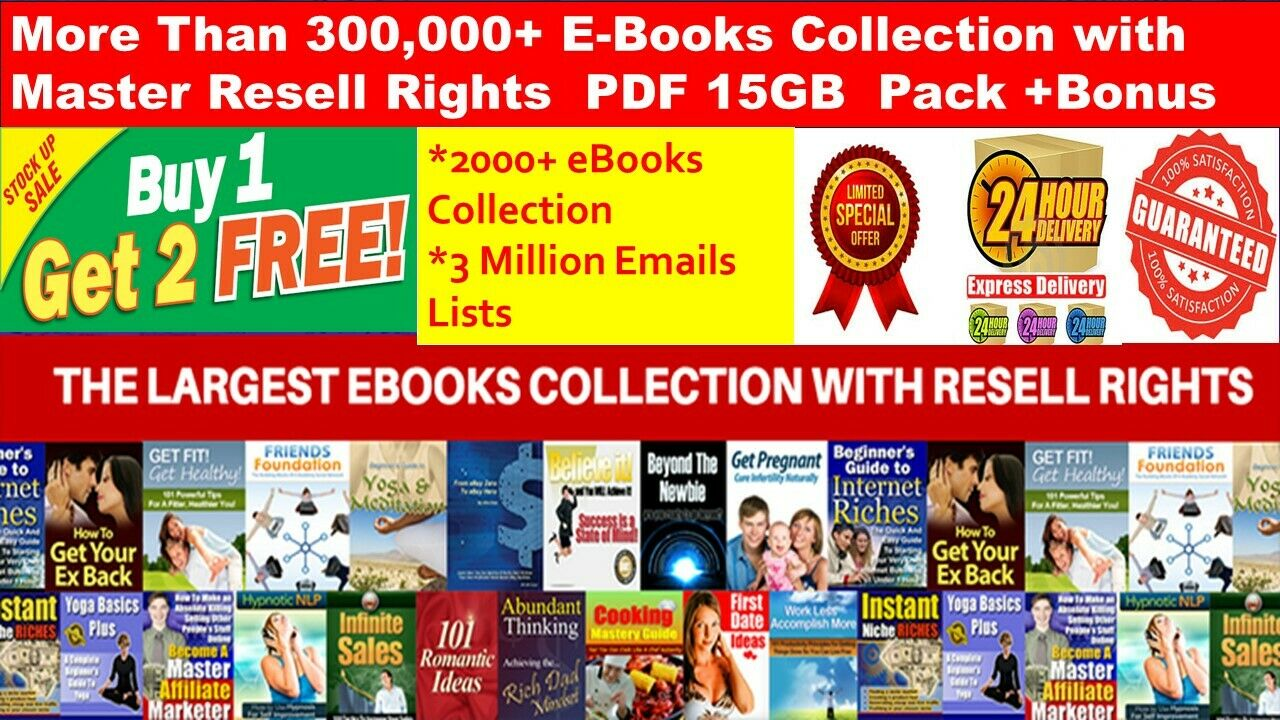 300,000+ E Books PLR Collection with MRR PDF+2000 Ebooks +3 Million Emails lists| INSTANT DOWNLOAD