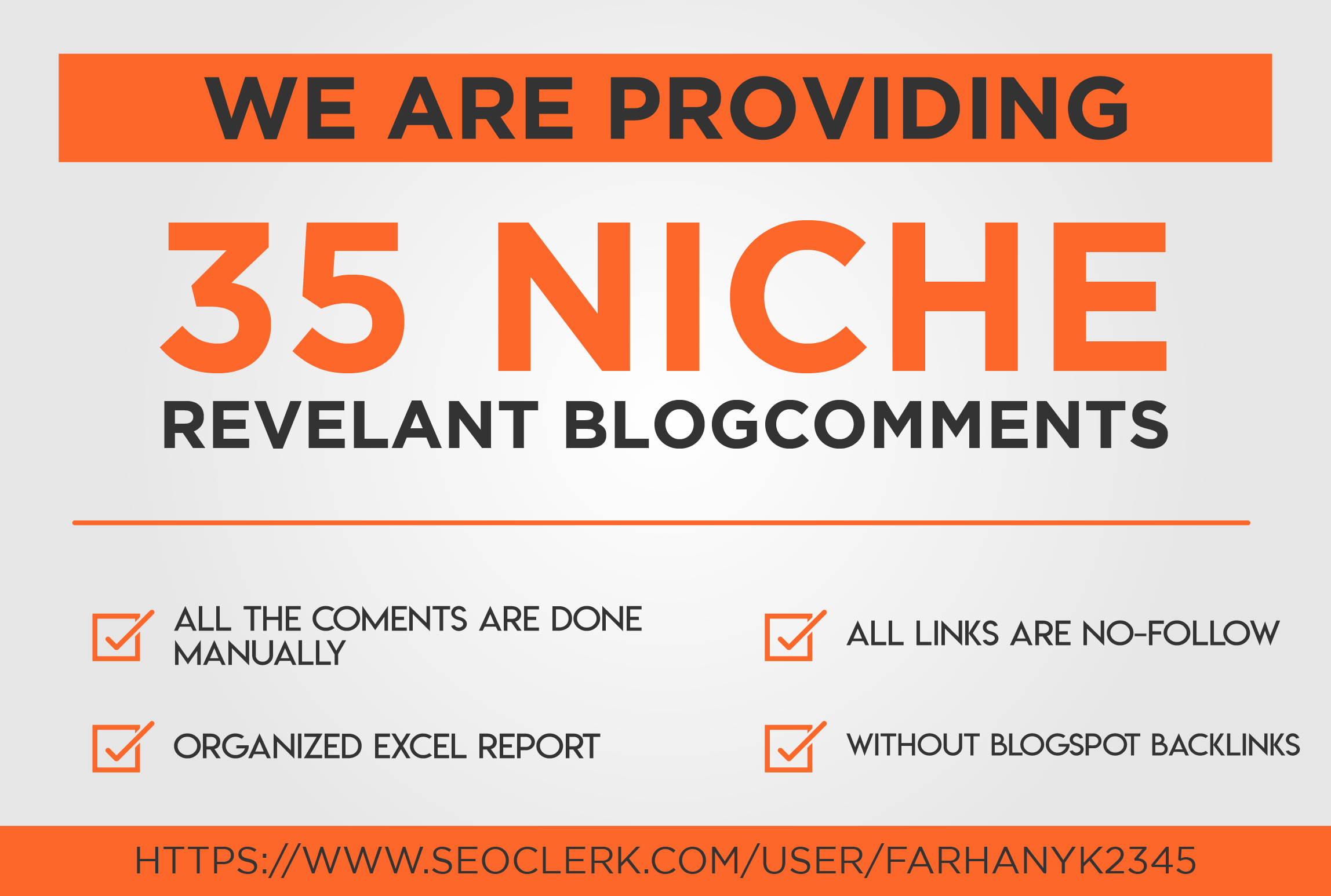 promote website with 35 niche related blog com-ments