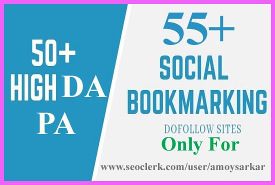 I will create manually 55+ pr10 social bookmark SEO HQ backlinks