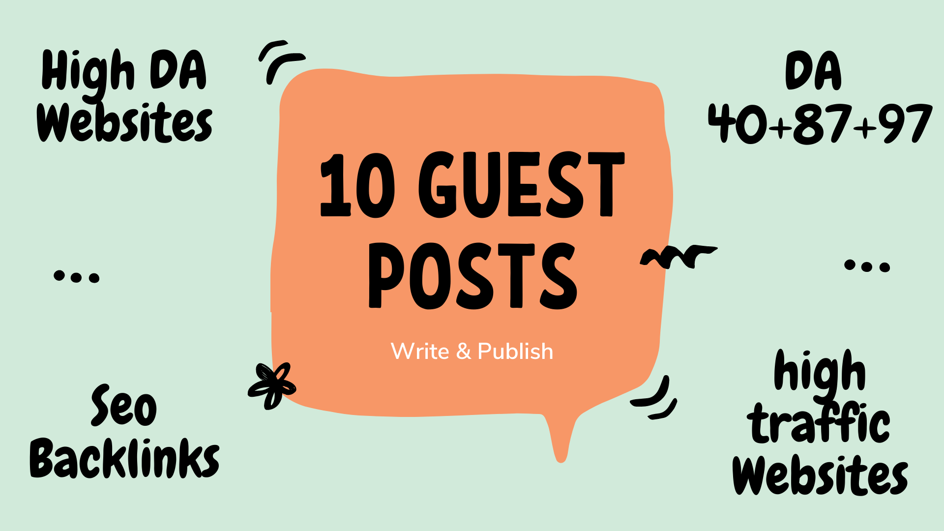 I will write and publish 10 guest posts da 40 to 97
