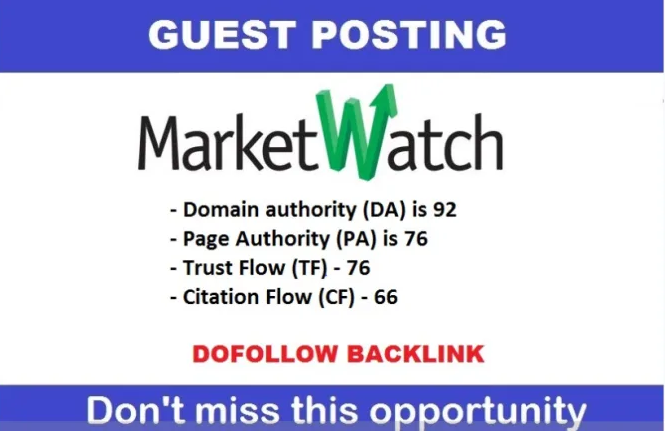 Publish Guest Post on MarketWatch DA 93