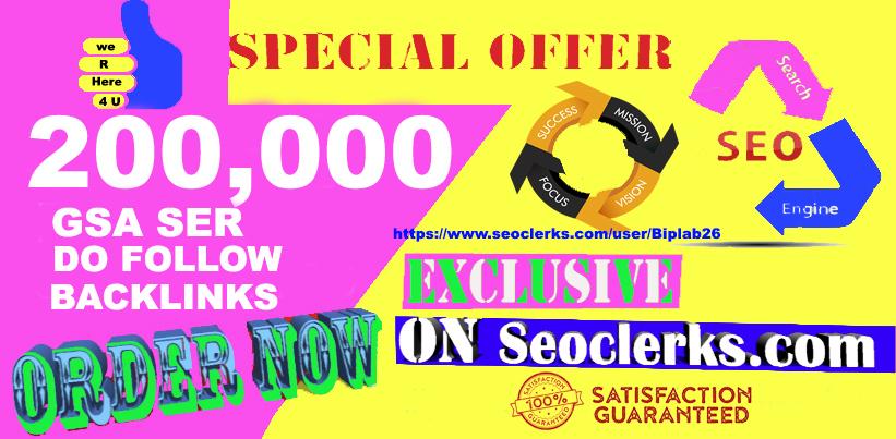200,000 GSA Dofollow Links for Website Ranking Backlinks